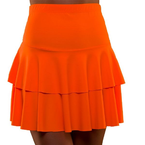 Ladies 80's Neon Ra Ra Skirt - Orange Fancy Dress Disco Madonna 90s Costume